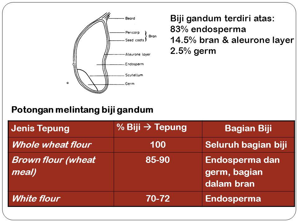 Potongan melintang biji gandum Biji gandum terdiri atas: 83% endosperma 14.5% bran & aleurone layer 2.5% germ Jenis Tepung % Biji  Tepung Bagian Biji