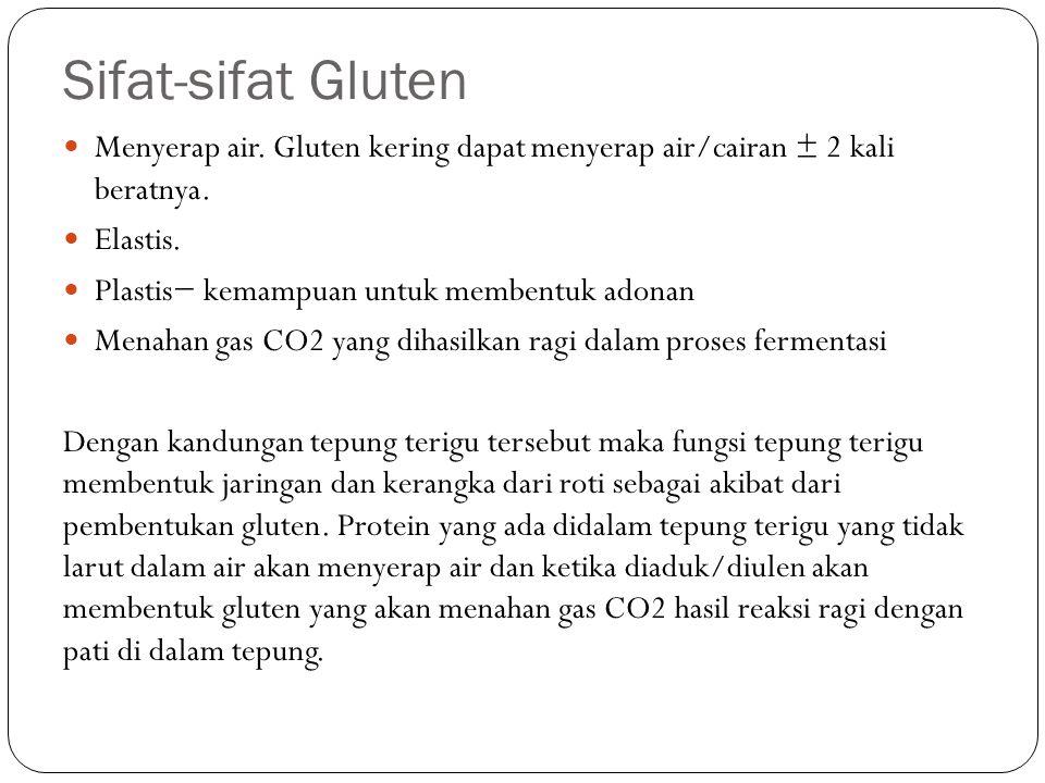 Sifat-sifat Gluten Menyerap air. Gluten kering dapat menyerap air/cairan ± 2 kali beratnya. Elastis. Plastis− kemampuan untuk membentuk adonan Menahan