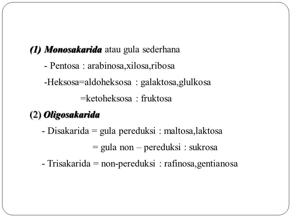 (1)Monosakarida (1)Monosakarida atau gula sederhana - Pentosa : arabinosa,xilosa,ribosa -Heksosa=aldoheksosa : galaktosa,glulkosa =ketoheksosa : frukt