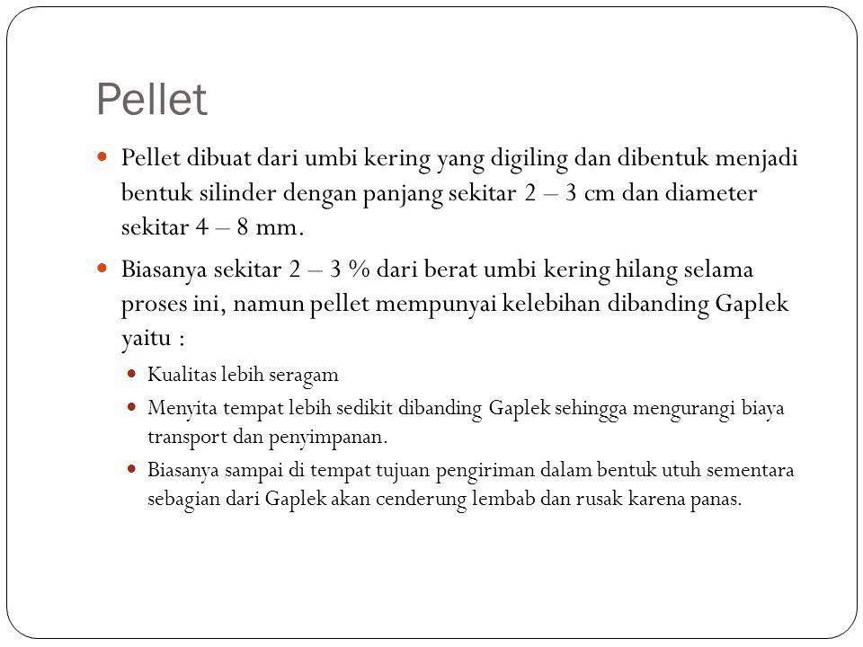 Pellet Pellet dibuat dari umbi kering yang digiling dan dibentuk menjadi bentuk silinder dengan panjang sekitar 2 – 3 cm dan diameter sekitar 4 – 8 mm