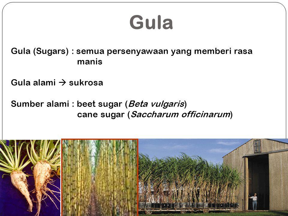 Gula (Sugars) : semua persenyawaan yang memberi rasa manis Gula alami  sukrosa Sumber alami : beet sugar (Beta vulgaris) cane sugar (Saccharum offici
