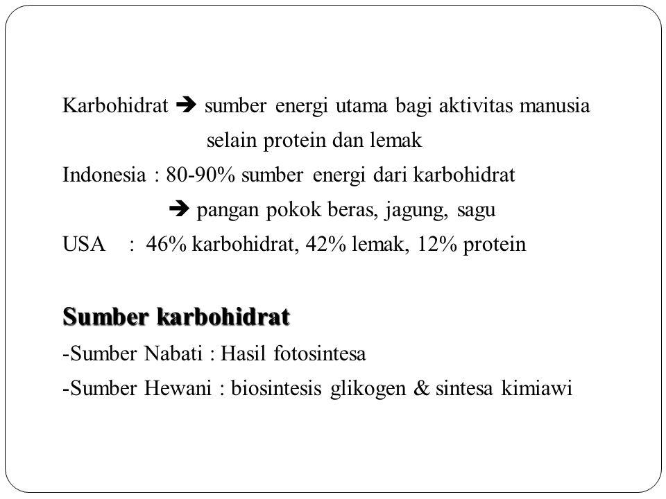 Karbohidrat  sumber energi utama bagi aktivitas manusia selain protein dan lemak Indonesia : 80-90% sumber energi dari karbohidrat  pangan pokok ber