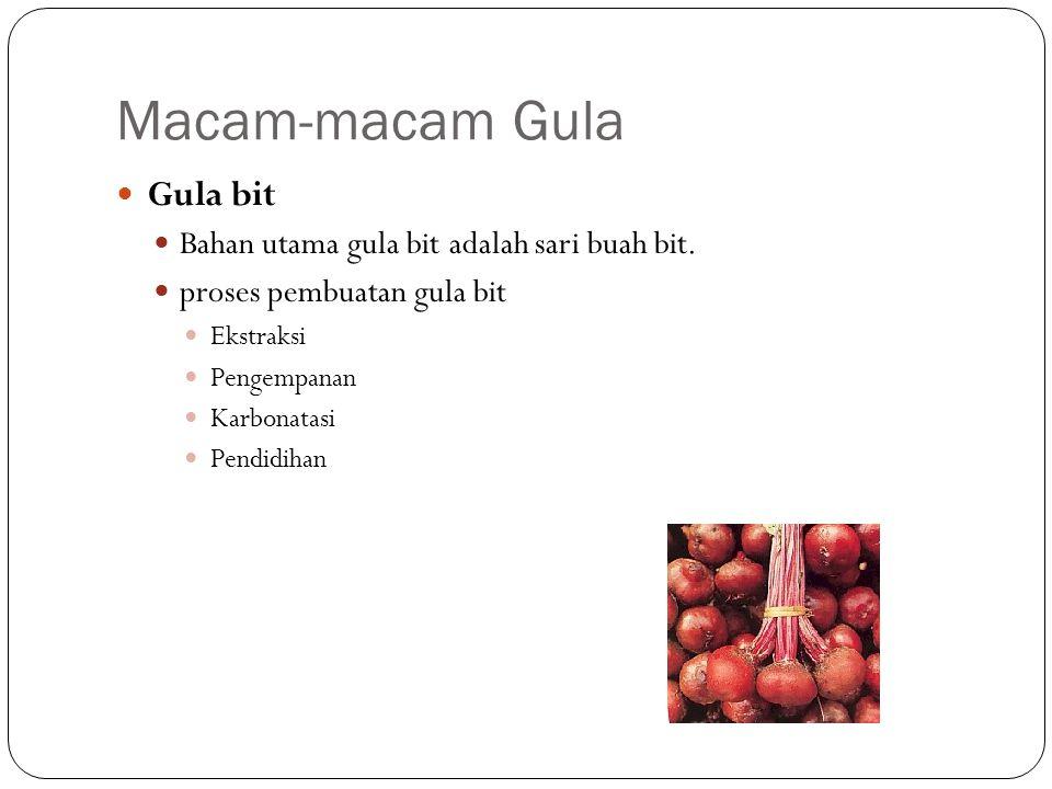 Macam-macam Gula Gula bit Bahan utama gula bit adalah sari buah bit. proses pembuatan gula bit Ekstraksi Pengempanan Karbonatasi Pendidihan http://www