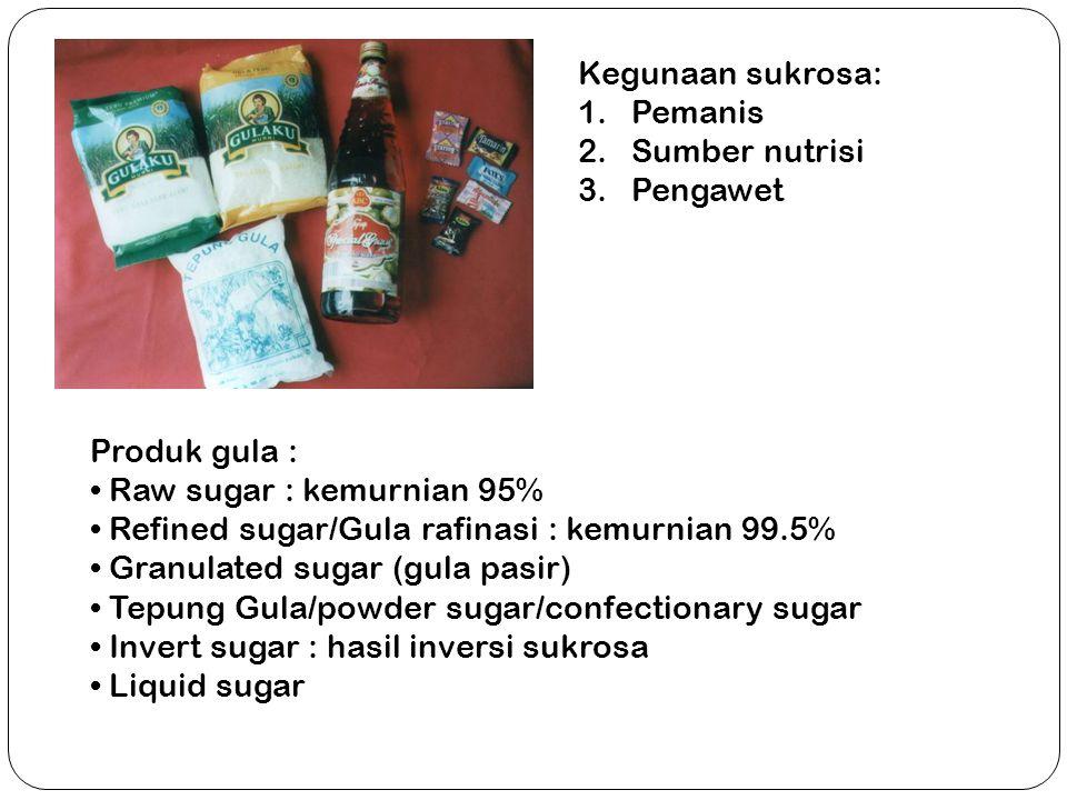 Produk gula : Raw sugar : kemurnian 95% Refined sugar/Gula rafinasi : kemurnian 99.5% Granulated sugar (gula pasir) Tepung Gula/powder sugar/confectio