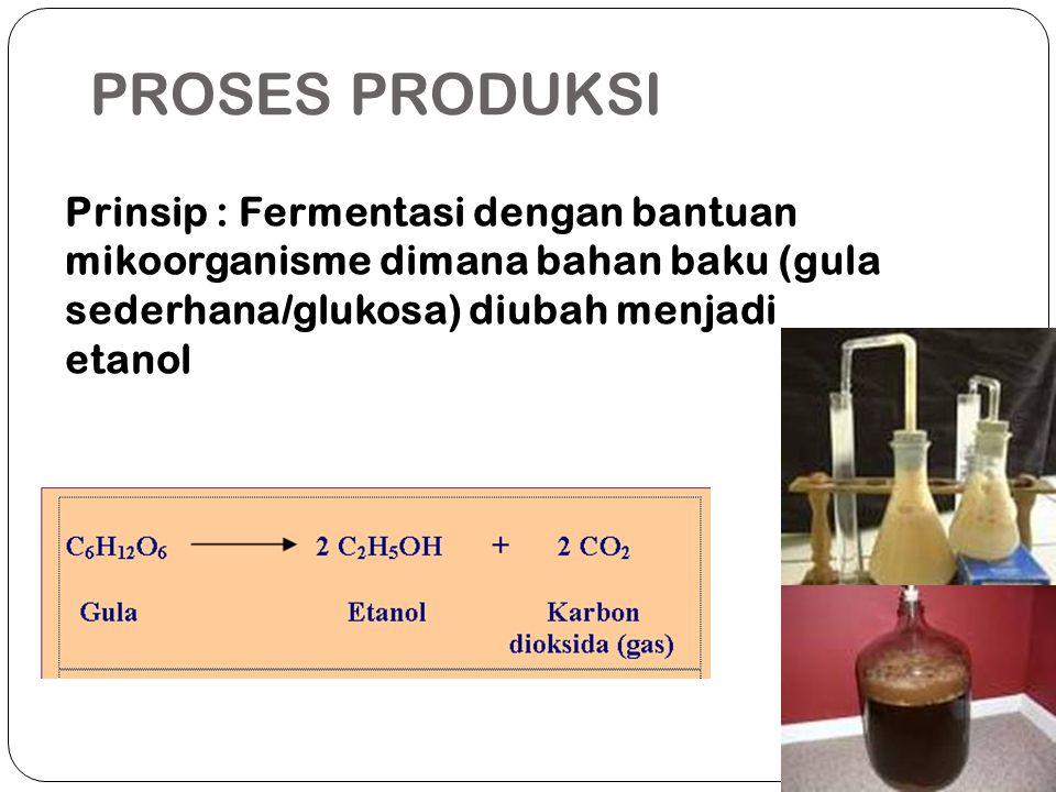PROSES PRODUKSI Prinsip : Fermentasi dengan bantuan mikoorganisme dimana bahan baku (gula sederhana/glukosa) diubah menjadi etanol