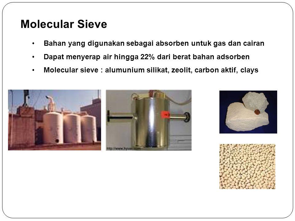 Molecular Sieve Bahan yang digunakan sebagai absorben untuk gas dan cairan Dapat menyerap air hingga 22% dari berat bahan adsorben Molecular sieve : a
