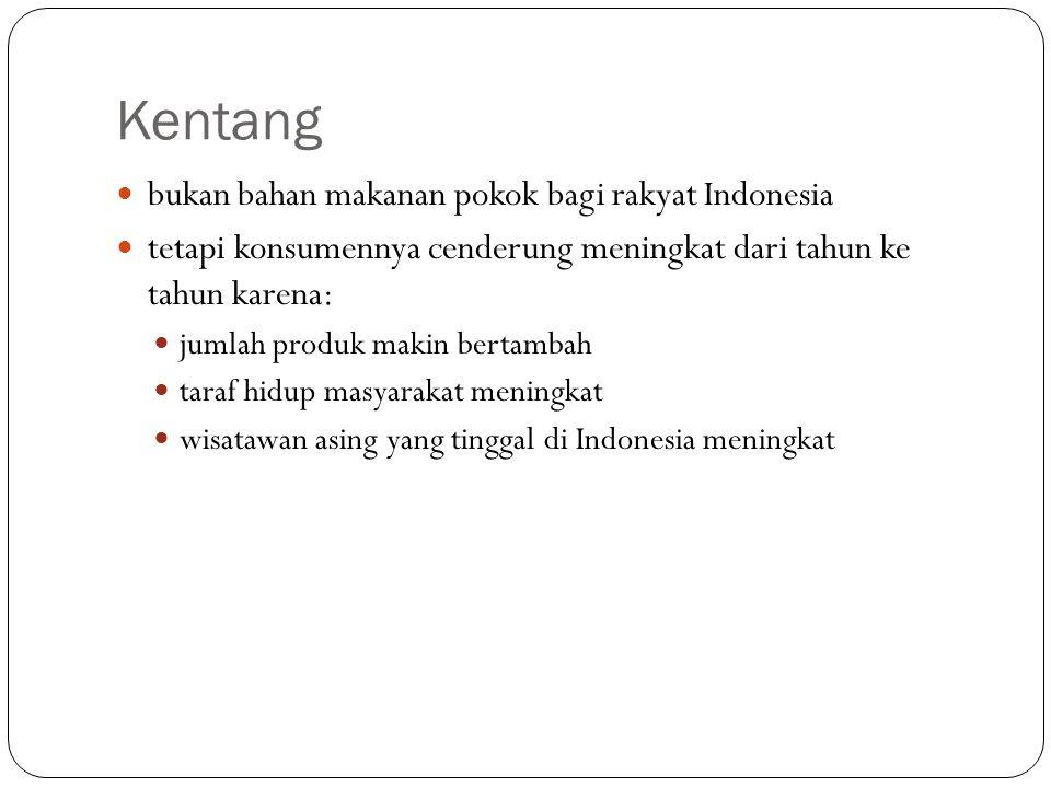 Kentang bukan bahan makanan pokok bagi rakyat Indonesia tetapi konsumennya cenderung meningkat dari tahun ke tahun karena: jumlah produk makin bertamb