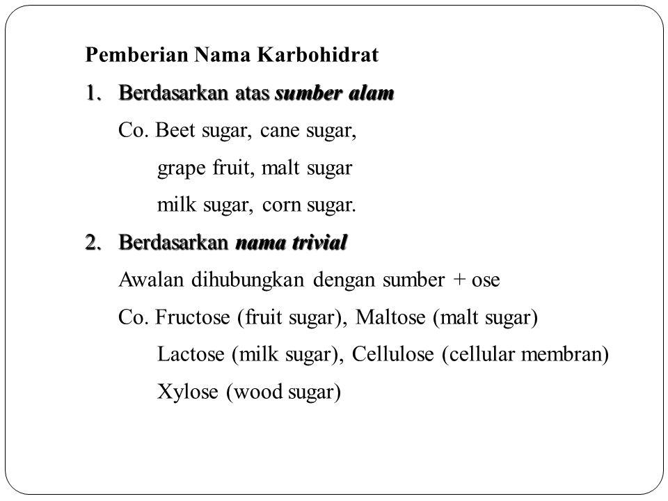 Pemberian Nama Karbohidrat 1.Berdasarkan atas sumber alam Co. Beet sugar, cane sugar, grape fruit, malt sugar milk sugar, corn sugar. 2.Berdasarkan na