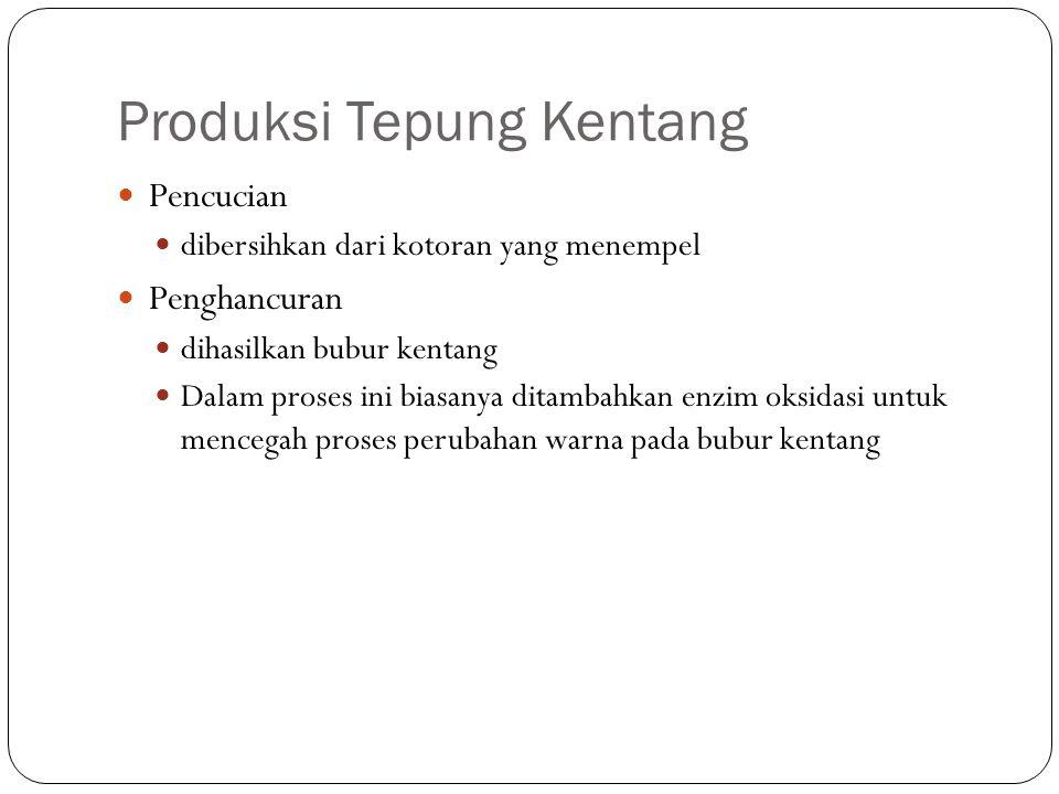 Produksi Tepung Kentang Pencucian dibersihkan dari kotoran yang menempel Penghancuran dihasilkan bubur kentang Dalam proses ini biasanya ditambahkan e
