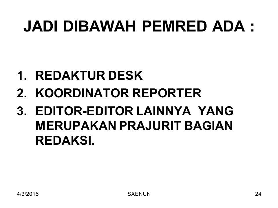 4/3/2015SAENUN24 JADI DIBAWAH PEMRED ADA : 1.REDAKTUR DESK 2.KOORDINATOR REPORTER 3.EDITOR-EDITOR LAINNYA YANG MERUPAKAN PRAJURIT BAGIAN REDAKSI.