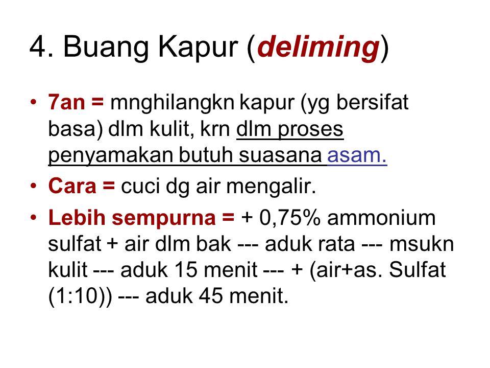4. Buang Kapur (deliming) 7an = mnghilangkn kapur (yg bersifat basa) dlm kulit, krn dlm proses penyamakan butuh suasana asam. Cara = cuci dg air menga