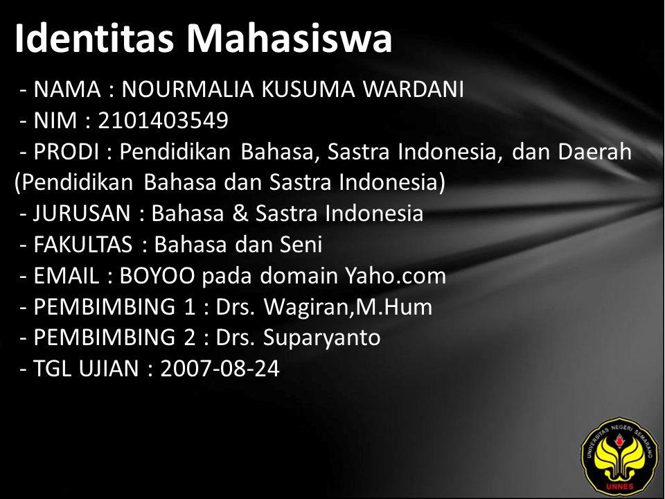 Identitas Mahasiswa - NAMA : NOURMALIA KUSUMA WARDANI - NIM : 2101403549 - PRODI : Pendidikan Bahasa, Sastra Indonesia, dan Daerah (Pendidikan Bahasa dan Sastra Indonesia) - JURUSAN : Bahasa & Sastra Indonesia - FAKULTAS : Bahasa dan Seni - EMAIL : BOYOO pada domain Yaho.com - PEMBIMBING 1 : Drs.