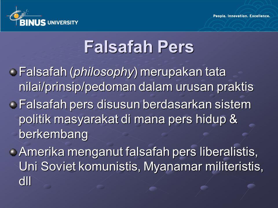 Falsafah Pers Falsafah (philosophy) merupakan tata nilai/prinsip/pedoman dalam urusan praktis Falsafah pers disusun berdasarkan sistem politik masyara