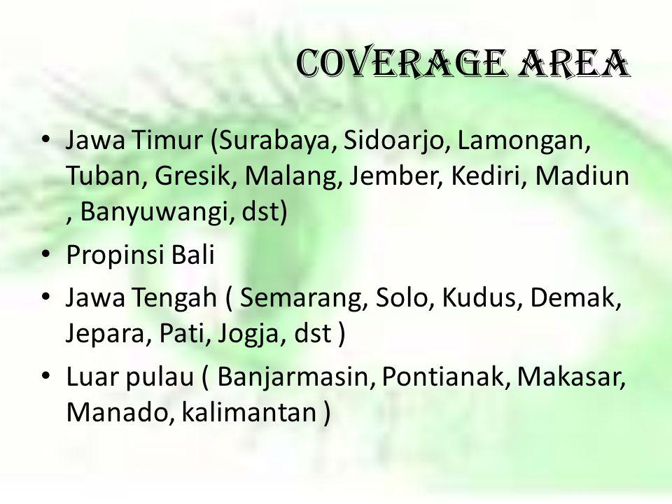 COVERAGE AREA Jawa Timur (Surabaya, Sidoarjo, Lamongan, Tuban, Gresik, Malang, Jember, Kediri, Madiun, Banyuwangi, dst) Propinsi Bali Jawa Tengah ( Se