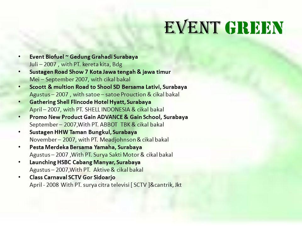 Event GREEN Event Biofuel ~ Gedung Grahadi Surabaya Juli – 2007, with PT. kereta kita, Bdg Sustagen Road Show 7 Kota Jawa tengah & jawa timur Mei – Se