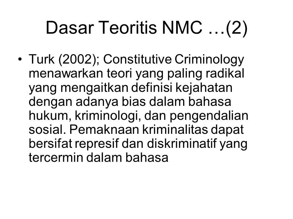 Dasar Teoritis NMC …(2) Turk (2002); Constitutive Criminology menawarkan teori yang paling radikal yang mengaitkan definisi kejahatan dengan adanya bias dalam bahasa hukum, kriminologi, dan pengendalian sosial.