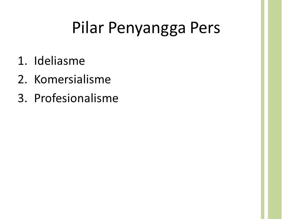 Pilar Penyangga Pers 1.Ideliasme 2.Komersialisme 3.Profesionalisme