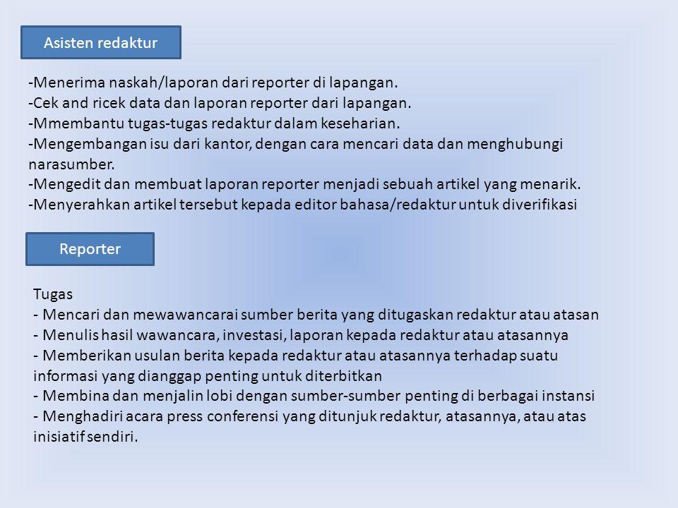 Asisten redaktur Reporter Tugas - Mencari dan mewawancarai sumber berita yang ditugaskan redaktur atau atasan - Menulis hasil wawancara, investasi, la