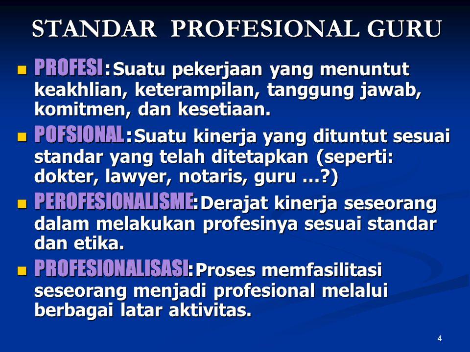 4 STANDAR PROFESIONAL GURU PROFESI : Suatu pekerjaan yang menuntut keakhlian, keterampilan, tanggung jawab, komitmen, dan kesetiaan. PROFESI : Suatu p