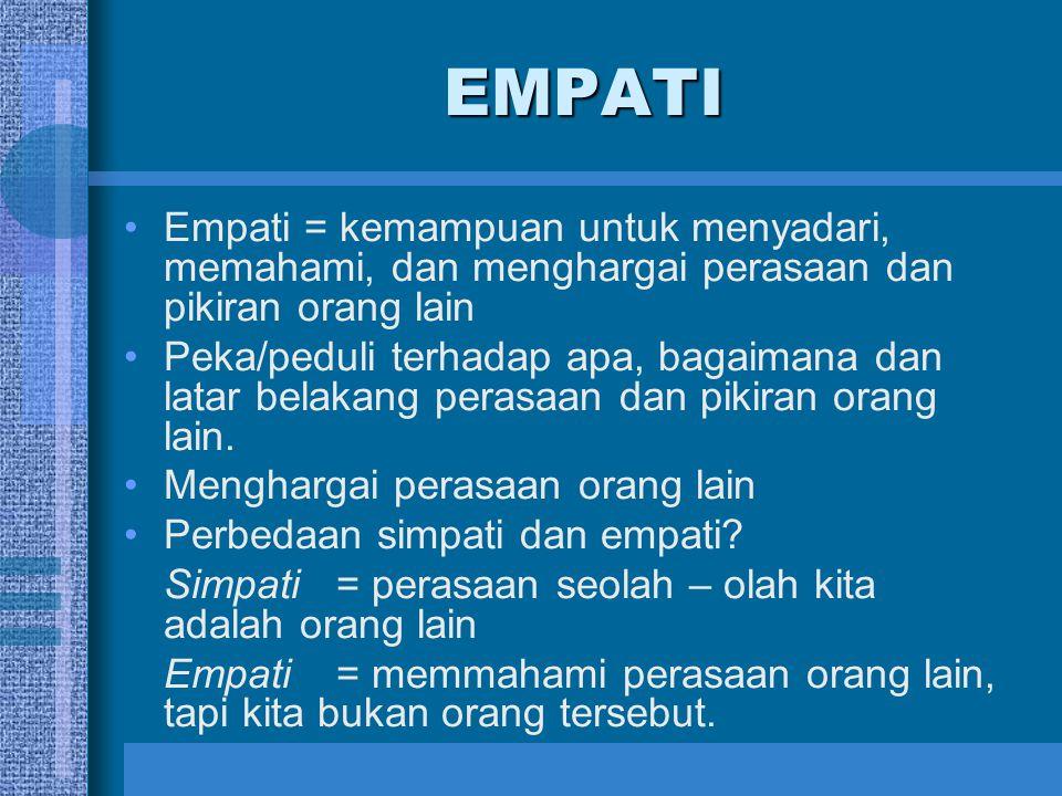 EMPATI Empati = kemampuan untuk menyadari, memahami, dan menghargai perasaan dan pikiran orang lain Peka/peduli terhadap apa, bagaimana dan latar bela