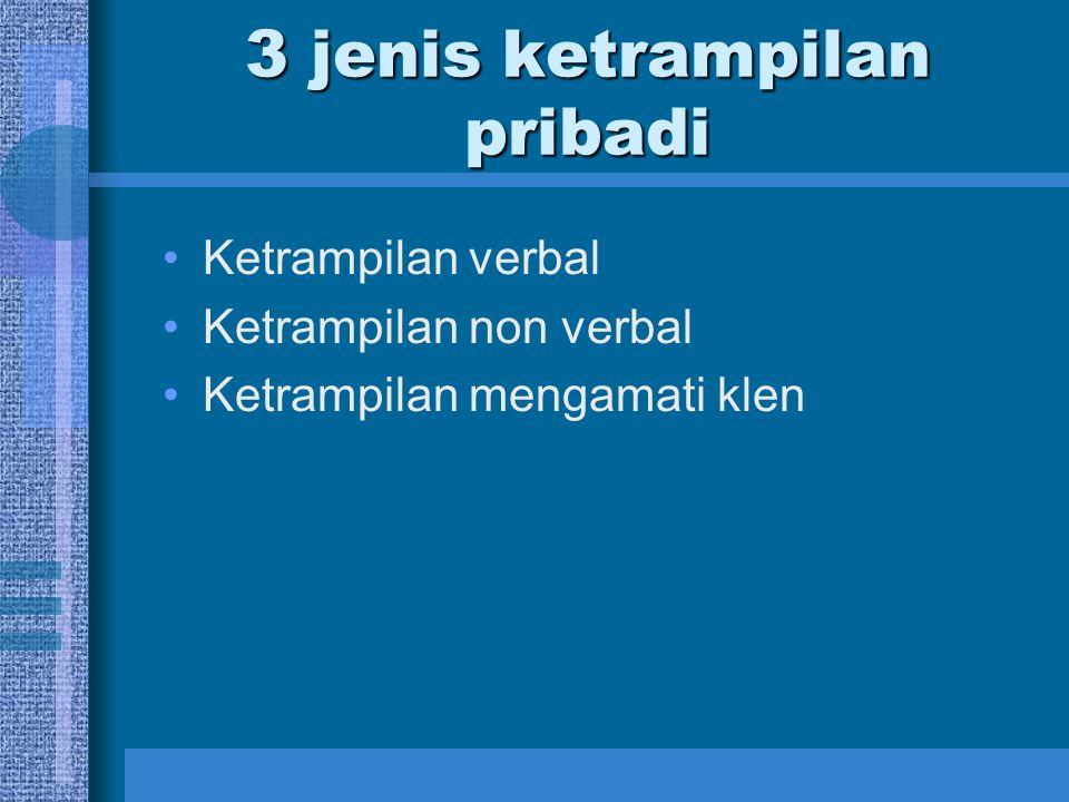 3 jenis ketrampilan pribadi Ketrampilan verbal Ketrampilan non verbal Ketrampilan mengamati klen