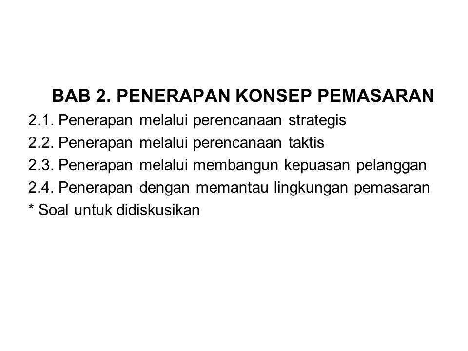 BAB 2. PENERAPAN KONSEP PEMASARAN 2.1. Penerapan melalui perencanaan strategis 2.2. Penerapan melalui perencanaan taktis 2.3. Penerapan melalui memban