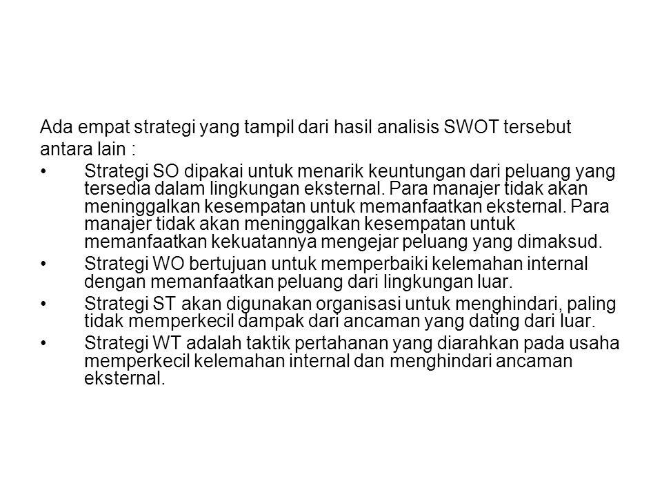 Ada empat strategi yang tampil dari hasil analisis SWOT tersebut antara lain : Strategi SO dipakai untuk menarik keuntungan dari peluang yang tersedia