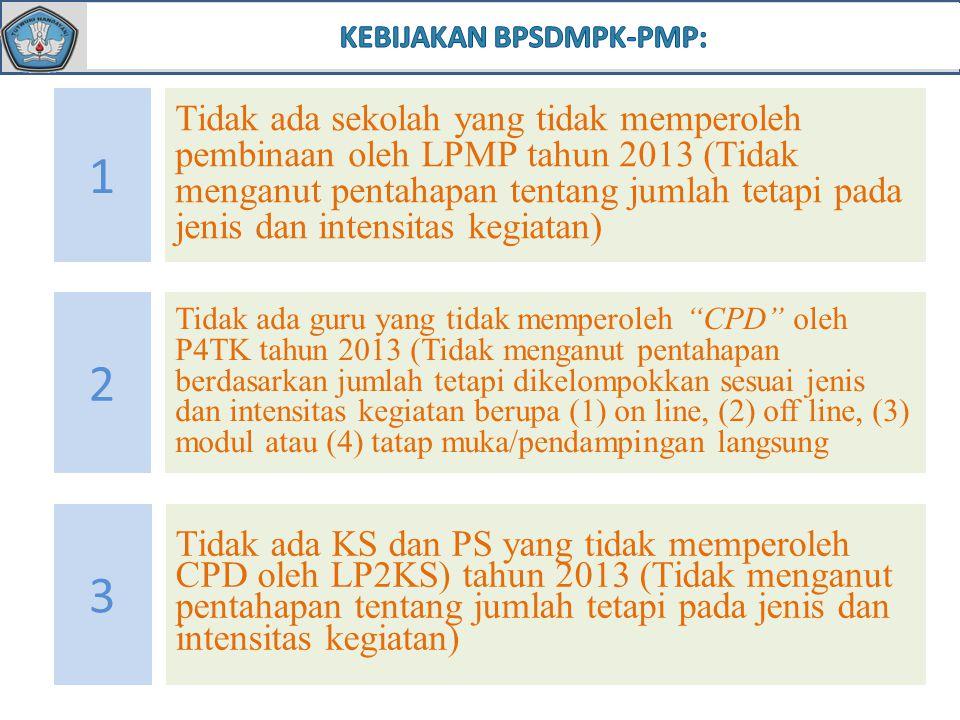 1 Tidak ada sekolah yang tidak memperoleh pembinaan oleh LPMP tahun 2013 (Tidak menganut pentahapan tentang jumlah tetapi pada jenis dan intensitas kegiatan) 2 Tidak ada guru yang tidak memperoleh CPD oleh P4TK tahun 2013 (Tidak menganut pentahapan berdasarkan jumlah tetapi dikelompokkan sesuai jenis dan intensitas kegiatan berupa (1) on line, (2) off line, (3) modul atau (4) tatap muka/pendampingan langsung 3 Tidak ada KS dan PS yang tidak memperoleh CPD oleh LP2KS) tahun 2013 (Tidak menganut pentahapan tentang jumlah tetapi pada jenis dan intensitas kegiatan)