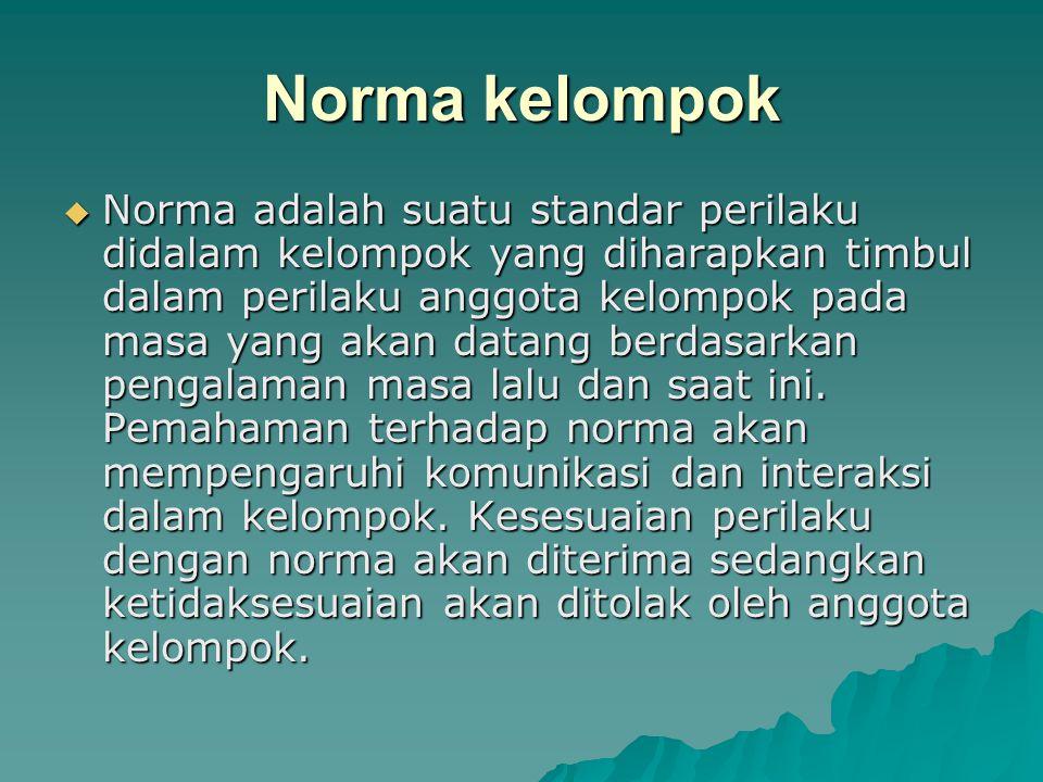Norma kelompok  Norma adalah suatu standar perilaku didalam kelompok yang diharapkan timbul dalam perilaku anggota kelompok pada masa yang akan datan