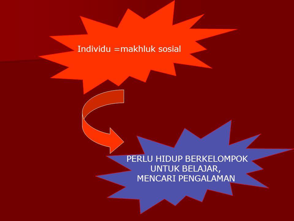 Individu =makhluk sosial PERLU HIDUP BERKELOMPOK UNTUK BELAJAR, MENCARI PENGALAMAN