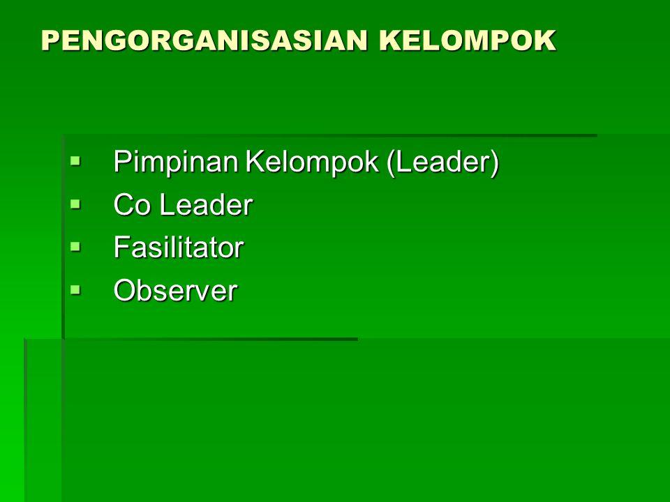 PENGORGANISASIAN KELOMPOK  Pimpinan Kelompok (Leader)  Co Leader  Fasilitator  Observer