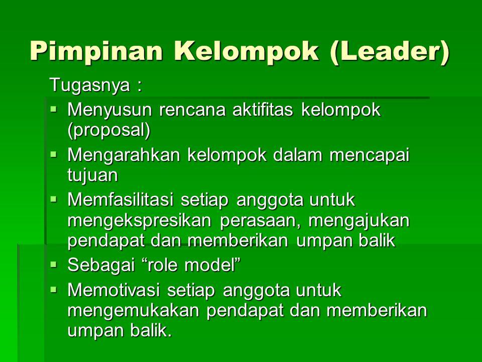Pimpinan Kelompok (Leader) Tugasnya :  Menyusun rencana aktifitas kelompok (proposal)  Mengarahkan kelompok dalam mencapai tujuan  Memfasilitasi se