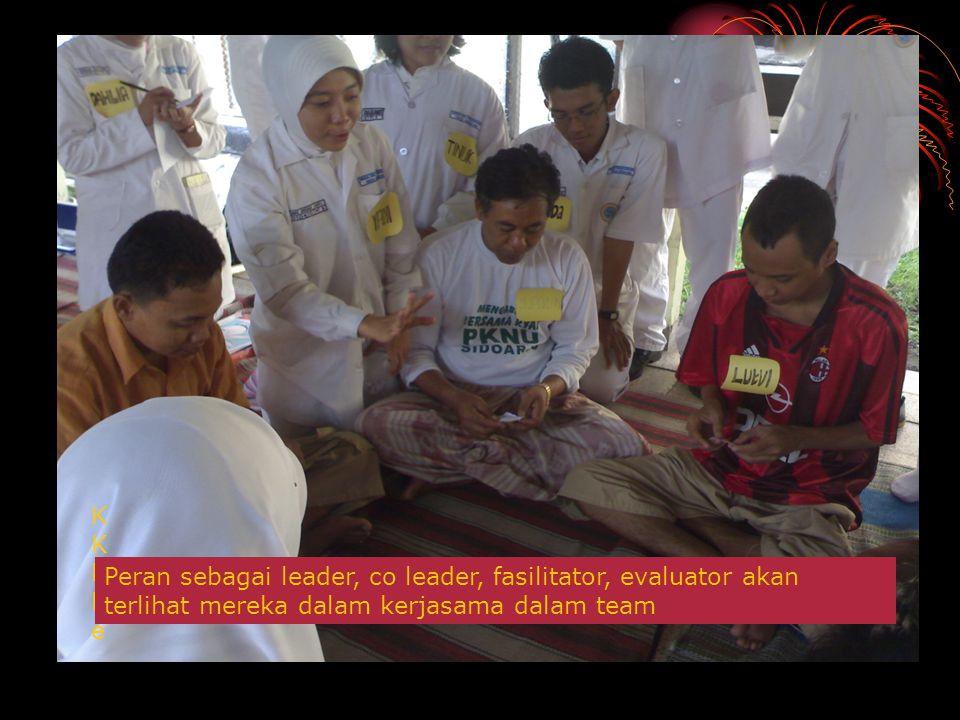 KKKKeKKKKe Peran sebagai leader, co leader, fasilitator, evaluator akan terlihat mereka dalam kerjasama dalam team
