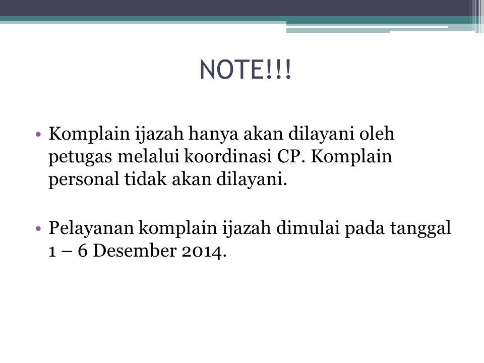 NOTE!!. Komplain ijazah hanya akan dilayani oleh petugas melalui koordinasi CP.