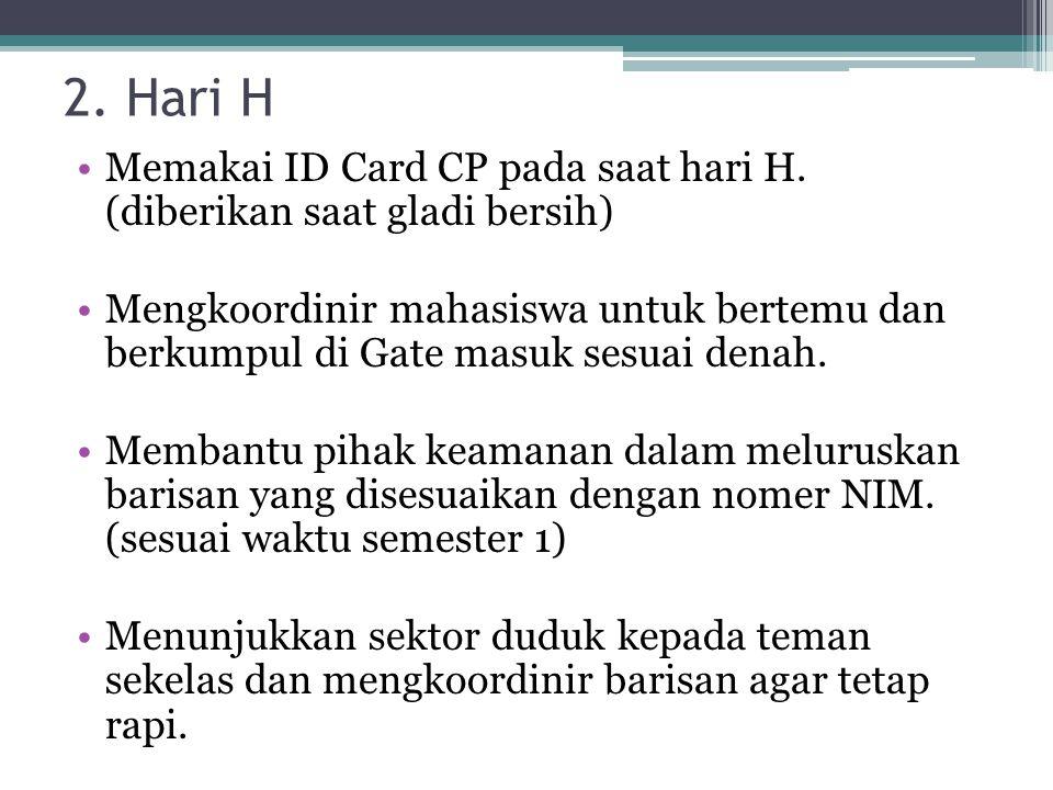 2. Hari H Memakai ID Card CP pada saat hari H.