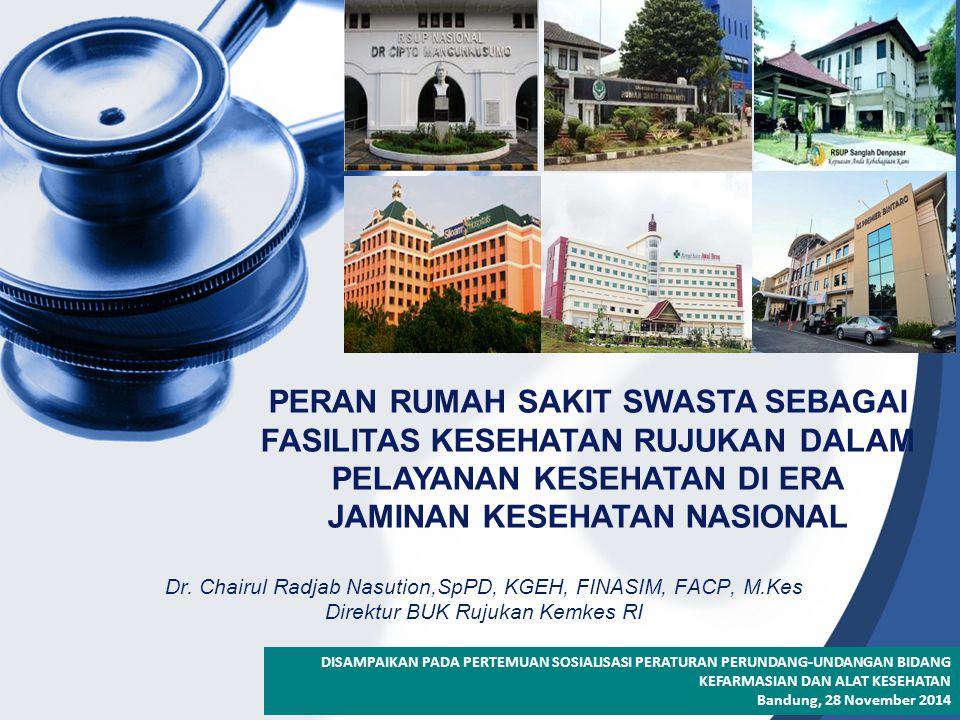 Dr. Chairul Radjab Nasution,SpPD, KGEH, FINASIM, FACP, M.Kes Direktur BUK Rujukan Kemkes RI PERAN RUMAH SAKIT SWASTA SEBAGAI FASILITAS KESEHATAN RUJUK