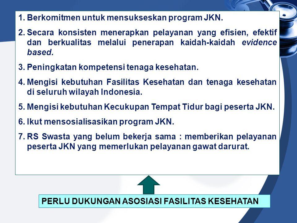 1.Berkomitmen untuk mensukseskan program JKN. 2.Secara konsisten menerapkan pelayanan yang efisien, efektif dan berkualitas melalui penerapan kaidah-k