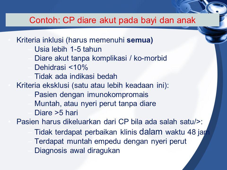 Contoh: CP diare akut pada bayi dan anak Kriteria inklusi (harus memenuhi semua) –Usia lebih 1-5 tahun –Diare akut tanpa komplikasi / ko-morbid –Dehid