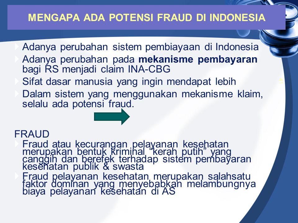  Adanya perubahan sistem pembiayaan di Indonesia  Adanya perubahan pada mekanisme pembayaran bagi RS menjadi claim INA-CBG  Sifat dasar manusia yan