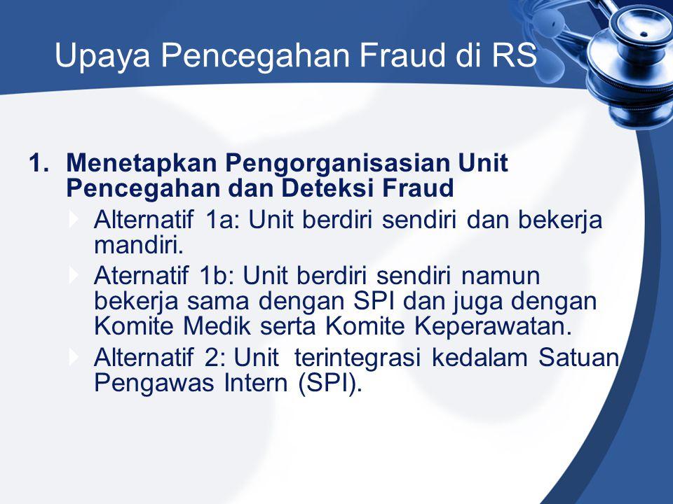 1.Menetapkan Pengorganisasian Unit Pencegahan dan Deteksi Fraud  Alternatif 1a: Unit berdiri sendiri dan bekerja mandiri.  Aternatif 1b: Unit berdir