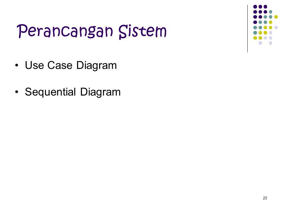 20 Perancangan Sistem Use Case Diagram Sequential Diagram