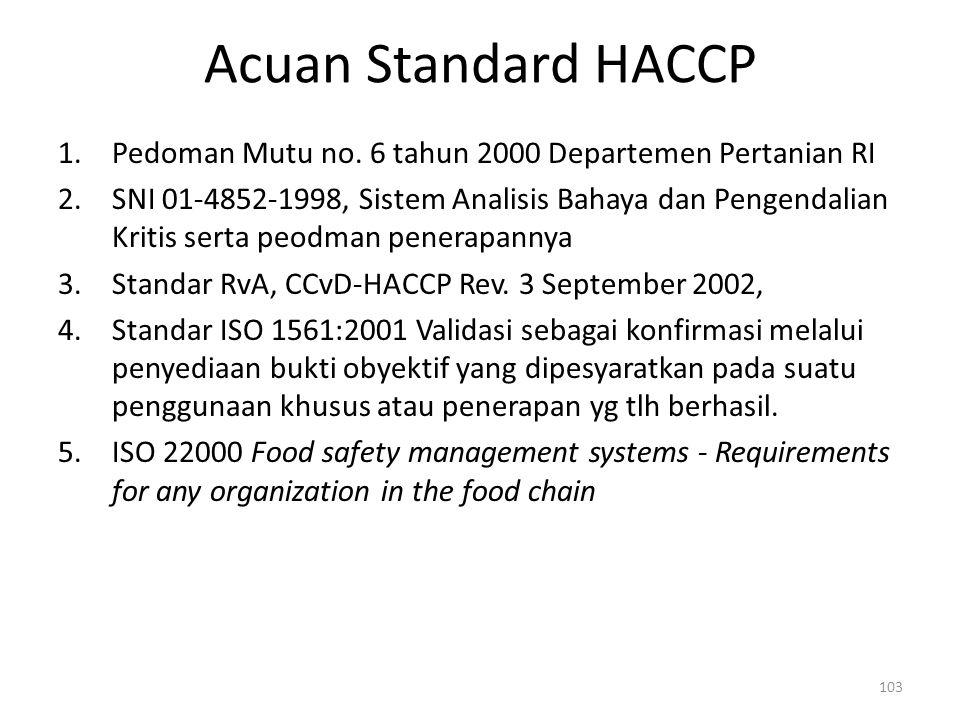 Acuan Standard HACCP 1.Pedoman Mutu no. 6 tahun 2000 Departemen Pertanian RI 2.SNI 01-4852-1998, Sistem Analisis Bahaya dan Pengendalian Kritis serta