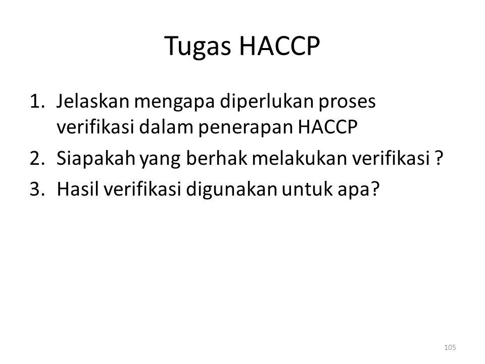Tugas HACCP 1.Jelaskan mengapa diperlukan proses verifikasi dalam penerapan HACCP 2.Siapakah yang berhak melakukan verifikasi ? 3.Hasil verifikasi dig