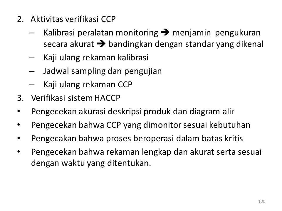 2. Aktivitas verifikasi CCP – Kalibrasi peralatan monitoring  menjamin pengukuran secara akurat  bandingkan dengan standar yang dikenal – Kaji ulang