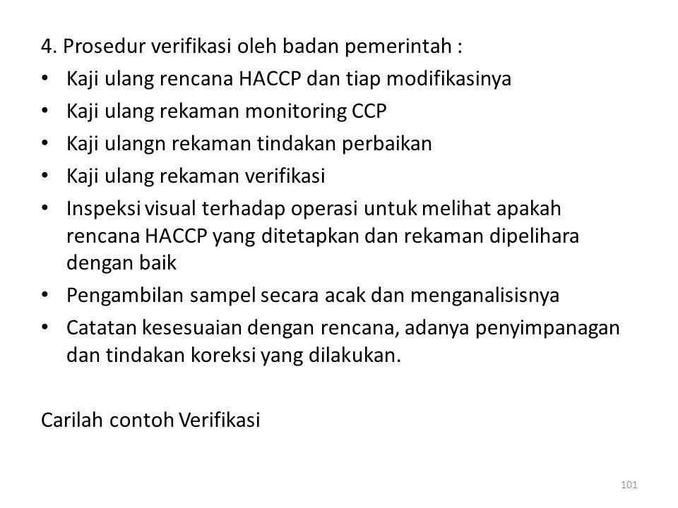 4. Prosedur verifikasi oleh badan pemerintah : Kaji ulang rencana HACCP dan tiap modifikasinya Kaji ulang rekaman monitoring CCP Kaji ulangn rekaman t
