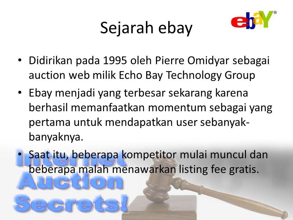 Sejarah ebay Didirikan pada 1995 oleh Pierre Omidyar sebagai auction web milik Echo Bay Technology Group Ebay menjadi yang terbesar sekarang karena berhasil memanfaatkan momentum sebagai yang pertama untuk mendapatkan user sebanyak- banyaknya.