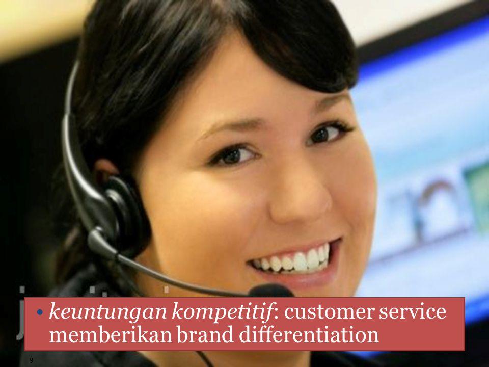 ALASAN PENGGUNAAN CUSTOMER SERVICE keuntungan kompetitif: customer service memberikan brand differentiation 9
