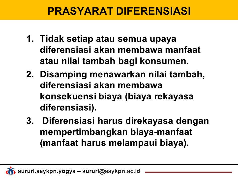 sururi.aaykpn.yogya – sururi@aaykpn.ac.id PRASYARAT DIFERENSIASI 1.Tidak setiap atau semua upaya diferensiasi akan membawa manfaat atau nilai tambah bagi konsumen.