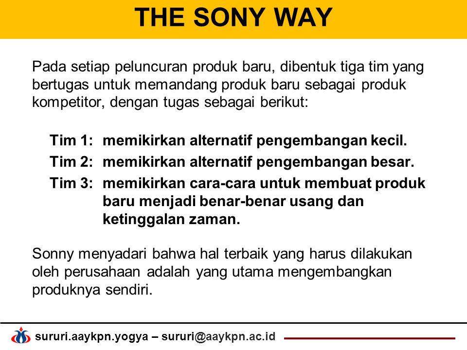sururi.aaykpn.yogya – sururi@aaykpn.ac.id THE SONY WAY Pada setiap peluncuran produk baru, dibentuk tiga tim yang bertugas untuk memandang produk baru sebagai produk kompetitor, dengan tugas sebagai berikut: Tim 1: memikirkan alternatif pengembangan kecil.