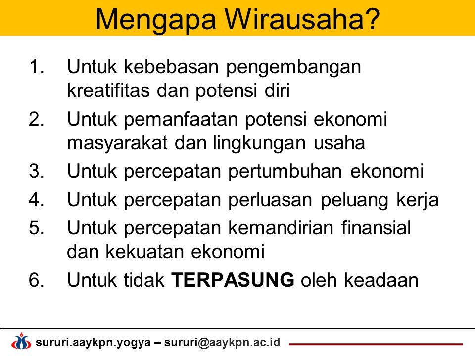 sururi.aaykpn.yogya – sururi@aaykpn.ac.id Mengapa Wirausaha.